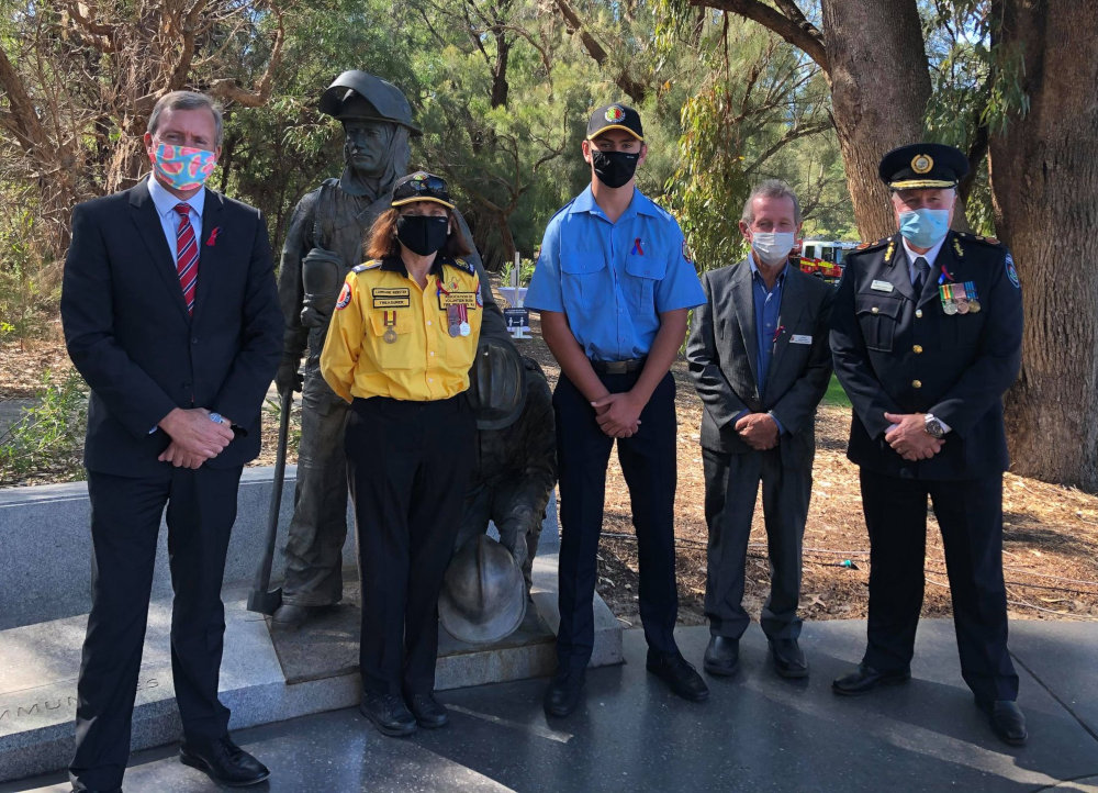 International Firefighters Day 2021 Memorial Perth Western Australia Bushfire Volunteers' Lorraine Webster, Rhys McDonald, Minister Reece Whitby MLA, John Mangini, FES Commissioner Darren Klemm